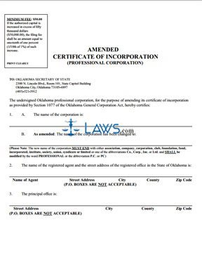 Amended Certificate of Incorporation Form (Professional)