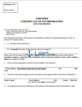 Amended Certificate of Incorporation (not for profit)