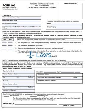 Claimant's Application and Order for Dismissal
