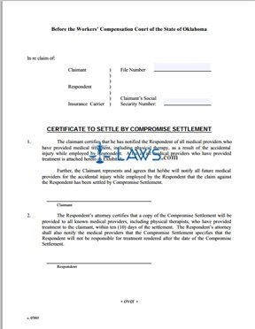 Certificate to Settle by Compromise Settlement