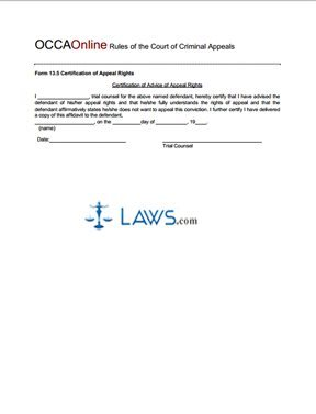 Certification of Appeal Rights