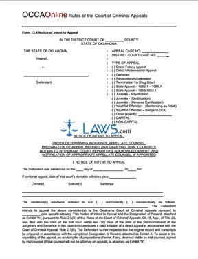Notice of Intent to Appeal