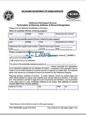 Termination of Attorney Address of Record Designation (Form 03EN030E)