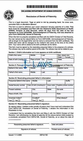 Rescission of Denial of Paternity (Form 03PA213E)