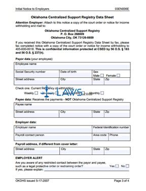 Initial Notice to Employers (Form 03EN006E)