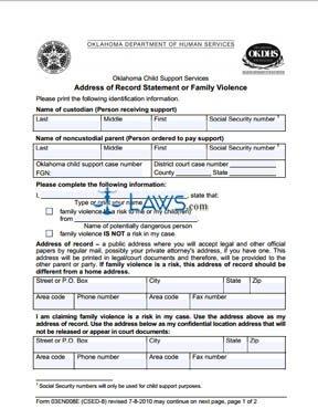 Family Violence - Address of Record Statement (Form 03EN008E)