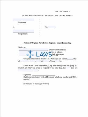 Notice of Original Jurisdiction Supreme Court Proceeding