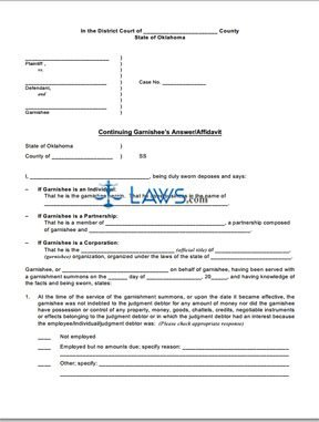 Continuing Garnishee's Answer/Affidavit; Calculation for Continuing Garnishment of Earnings