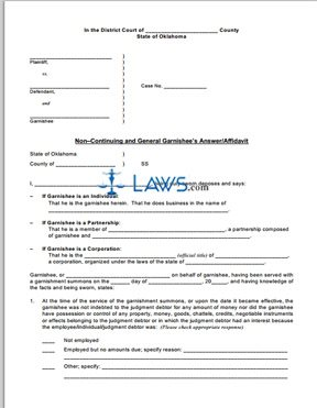 Noncontinuing & General Garnishee's Answer/Affidavit; Calculation for Non-continuing Garnishment of