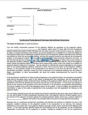 Continuing Postjudgment Earnings Garnishment Summons