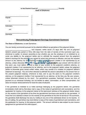 Noncontinuing Postjudgment Earnings Garnishment Summons