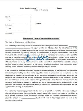 Prejudgment General Garnishment Summons