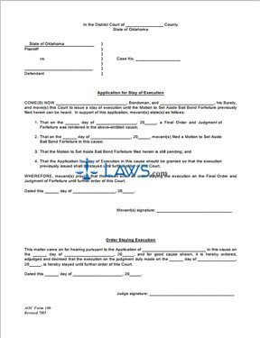 Application and Order for Stay of Execution