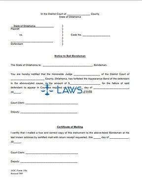 Notice to Bail Bondsman