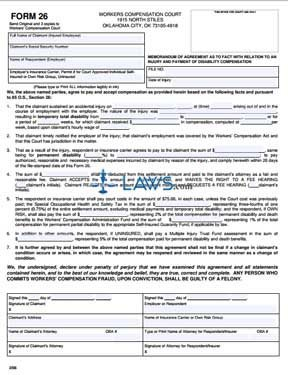 Memorandum of Agreement as to Fact with Relation to an Injury and Payment of Disability Compensation