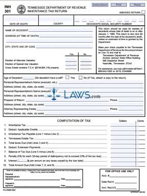 Form INH State Inheritance Tax Return Long Form Tennessee - Tennessee legal forms