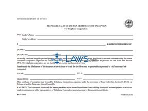 Form Certificate of Exemption for Telephone Cooperatives