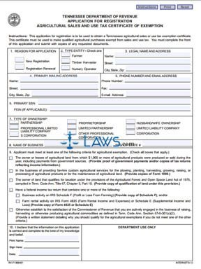Form Application for Registration Agricultural Sales and Use Tax ...