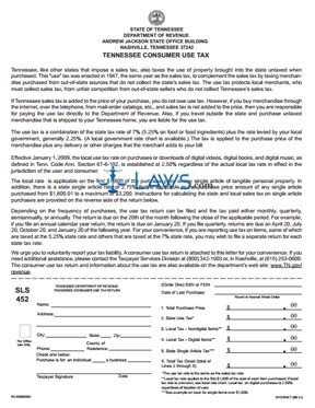 Form SLS 452 Tennessee Consumer Use Tax