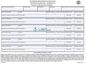 ... Payment to Subcontractor Worksheet - Tennessee Forms - | Laws.com