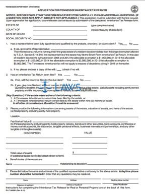 Form Application for Inheritance Tax Waiver - Tennessee Forms ...