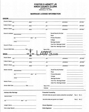 Form Application for Marriage License