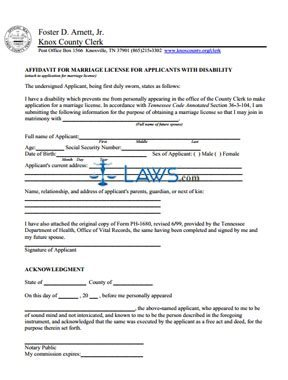 Form Marriage License for Applicants with Disability