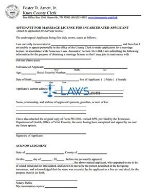 Form Marriage License for Incarcerated Applicant