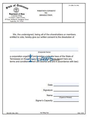 Form SS-4255 Written Consent to Dissolution