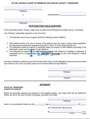 Form JC-26A Petition for Child Support
