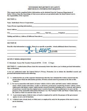 Form SF-1289 Tennessee Department of Safety Driver Data Information Request