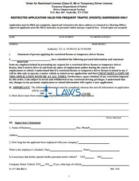 Form SF-1227 Restricted Application Valid For Frequent Traffic (Points) Suspension On
