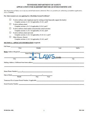 Form SF-0263 Application for hardship Driver License/Certificate