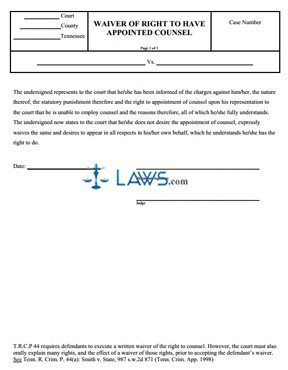 Waiver of Right to Counsel