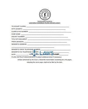 Uniform Fax Filing Cover Sheet