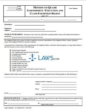 Motion to Quash Garnishment/Execution and Claim Exemption Rights