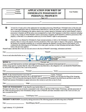 Application for Writ of Immediate Possession of Personal Property