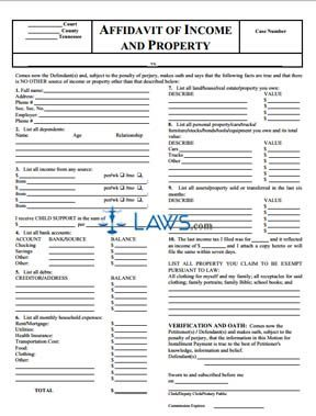 Affidavit of Income and Property