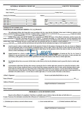 Affidavit of Complaint - Worthless Check / Sight Order