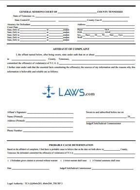 Affidavit Of Complaint Criminal Tennessee Forms