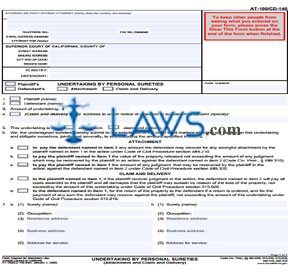 Undertaking By Personal Sureties (Attachment and Claim and Delivery)
