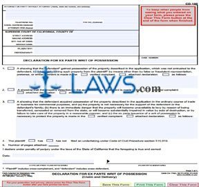 Declaration for Ex Parte Writ of Possession (Claim and Delivery)