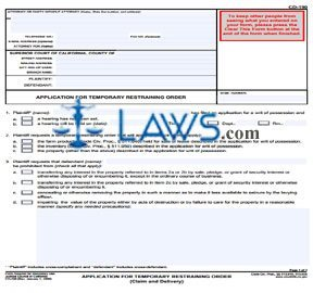 Application for Temporary Restraining Order (Claim and Deliver)