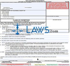Claim of Exemption (Enforcement of Judgment)