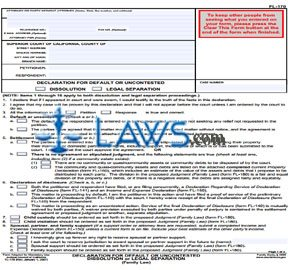 Declaration for Default or Uncontested Dissolution or Legal Separation