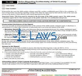 Notice Regarding Confidentiality of Child Custody Evaluation Report