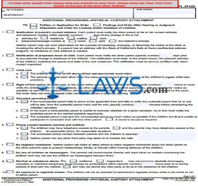Additional Provisions-Physical Custody Attachment