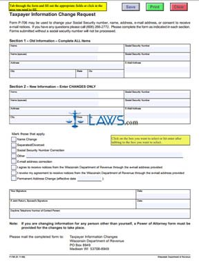 Form P-706 Taxpayer Information Change Request