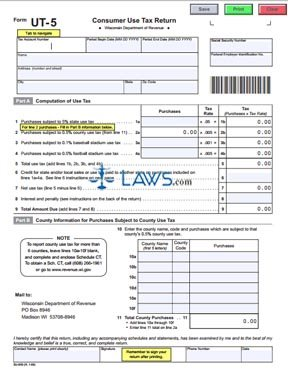 Form UT-5 Consumer Use Tax Return