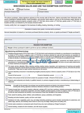 Form S-211 Wisconsin Sales and Use Tax Exemption Certificate and Instructions